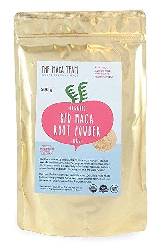 Maca Roja en polvo cruda BIO, 500 gr. Maca con los valores nutricionales más altos de todos los tipos. Cosecha orgánica certificada de Perú, comercio Justo, sin OGM, sin Gluten y Vegana, 50 dosis.