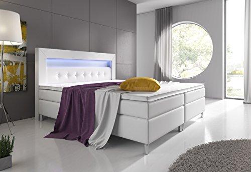 Boxspringbett 160x200 Weiß mit Topper LED Beleuchtung Hotelbett Topper Polsterbett Venedig