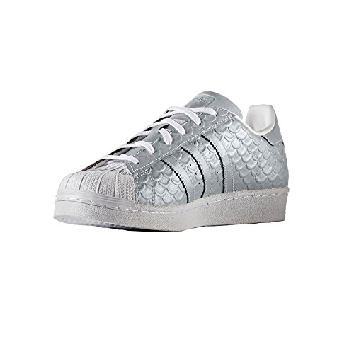 adidas Superstar W, Sneakers Basses Femme Blanc (Silvmt/silvmt/ftwwht)
