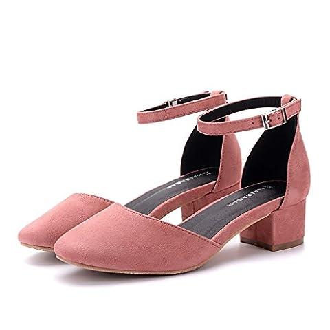 Retro Marie Jane Schuhe Damen Elegante Knöchel Banded Sandalen ( Farbe : Pink , größe : 36 )