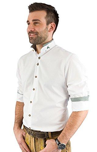 arido Trachtenhemd Herren langarm 2624 255 weiß tanne 40 45