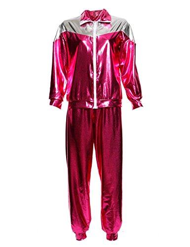 Ladies 1980s Metallic Shellsuit Shell Suit Fancy Dress Costume Pink