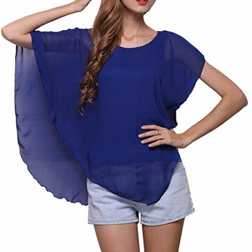 QIYUN.Z Sommer Unregelmaessigen Fluegelhuelsenfrauen Beilaeufiges Chiffon- Kapuzenpulli T-Shirts T-Shirt Bluse Koenigsblau