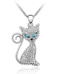 MARENJA Cristal-Collares Mujer Gato Chapado en Oro Blanco Cristal Claro Ajustable 40+5cm