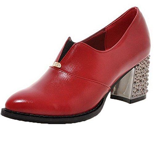 6e33a3f20b2229 AllhqFashion Damen Ziehen Auf Spitz Zehe Mittler Absatz Rein Pumps Schuhe  Rot. Obermaterial  Pu Leder