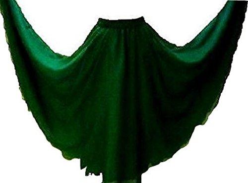 Kostüm Welt (Flasche Grün 6m Bauchtanz Kostüm Rock gewellt Kanten passend für S bis XXL–UK Größe 8/10–24–Länge)