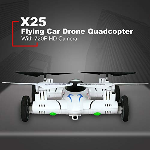 X25 720P HD Cámara Smart RC Flying Car Drone Quadcopter Aviones UAV con 360 ° Flip Altitude Hold 0ne Key Return,