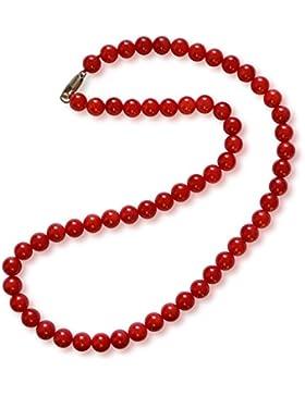 Koralle Halskette, natürlich, rot, rund, 7mm