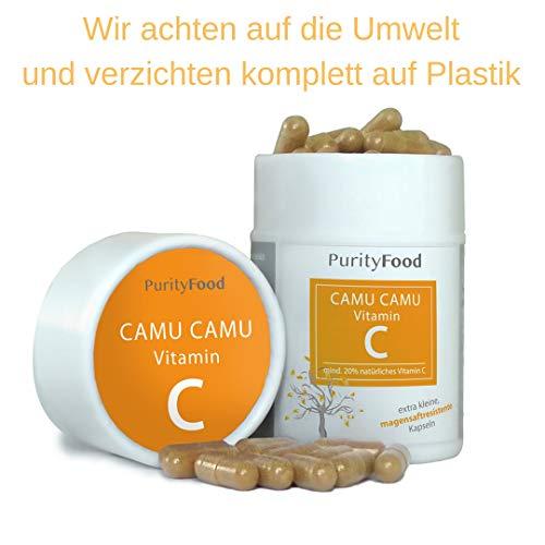 Camu Camu Extrakt hochdosiert - natürliches Vitamin C - 120 Kapseln magensaftresistente - in Papp-Dose vegan ohne Zusatzstoffe 370 mg pures Extrakt pro Kapsel -