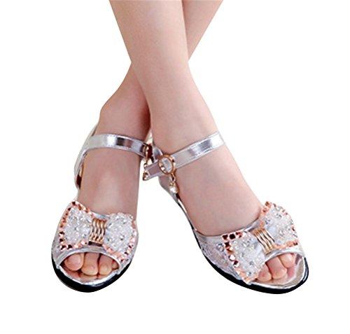 Brinny Enfants fille sandale d'été faux diamant Arc Princesse Chaussure Cérémonie Ballerines à bride Demoiselle d'honneur Mariage Escarpin à petit talon Argenté