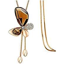 z de p Long Pattern Sweater Chain lazo Flower Pendant Necklace for Women en invierno
