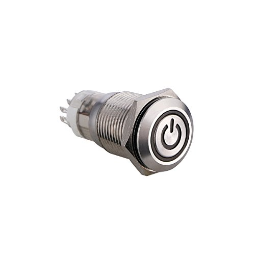 winomo Latching Push Button Switch Metall Shell mit Blau LED geeignet für DC 12 V 16 mm 5/20,3 cm (blau Licht)
