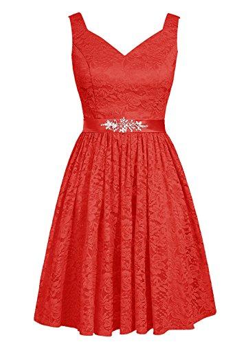 Dresstells, robe courte de demoiselle d'honneur en dentelle col en V Rouge