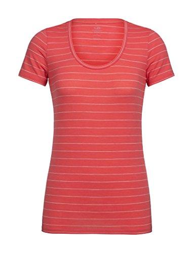 Icebreaker Damen Merino Tech Lite U-Ausschnitt T-Shirt W Graphic Light Merino Wool Jersey Travel, Wandern, Damen, Stripe/Poppy Red/Fawn Heather, X-Large