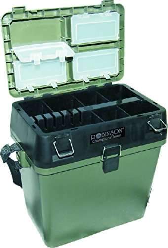 ROBINSON Sitzkiepe und Angelkoffer mit vier Zubehörschachteln, welche im Deckel befestigt sind, inklusive Tragegurt, Farbe Grün-Schwarz