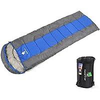 GEERTOP® Saco de Dormir Envolvente Acoplable 3 Temporadas 5℃ à 20℃ - 220 x 85 cm - para Acampada Senderismo y Viajes (Azul, Grande)