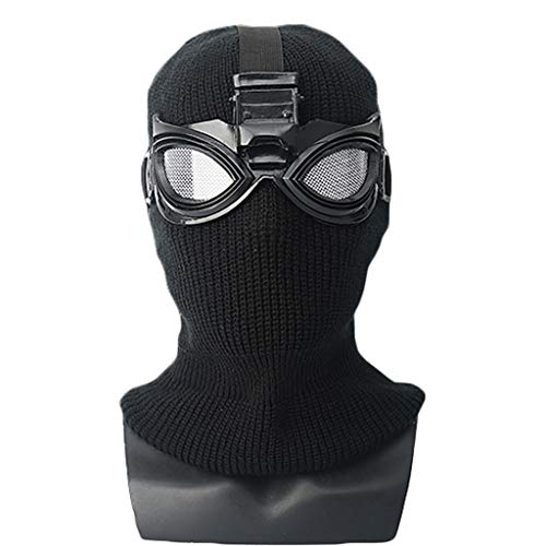 QWEASZER Spider-Man: Far from Home, Marvel Avengers Black Spiderman Vollmaskenhelm Kopfbedeckung, Movie Cosplay Shadow Sneak Battle Kostümzubehör, Halloween Kopfbedeckung,Black-OneSize