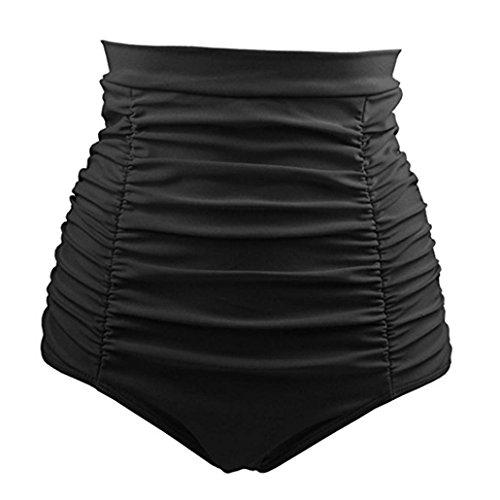 Bikini-Sets,Honestyi Basic Einfache Einfarbig Serie Damen /Mädchen Bikini Baden Strand Bademode Vintage 50s Hohe Taille StämmeShorts Hosen Badeshorts Unterwäsche große größenS-XXXL (L, Schwarz)