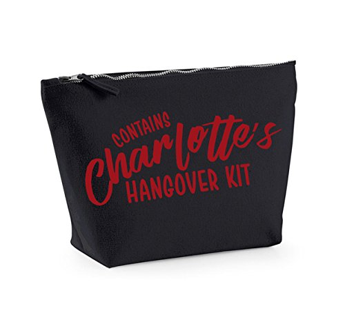 Hangover Kit - Personalised Name - Custom - Fun Slogan, Make Up and Cosmetics Bag, Accessory Organiser Black/Red