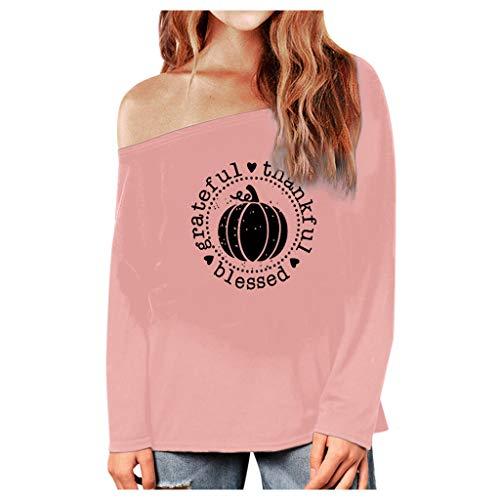 Verkauf Tragen Waffen Für Kostüm - GOKOMO Damen Halloween Fashion Warm Langarm Print Bluse T-Shirtwarmes LangäRmeliges Bedrucktes Hemd-Modehemd FüR Halloween Frauen(Rosa-1,XXXXX-Large)