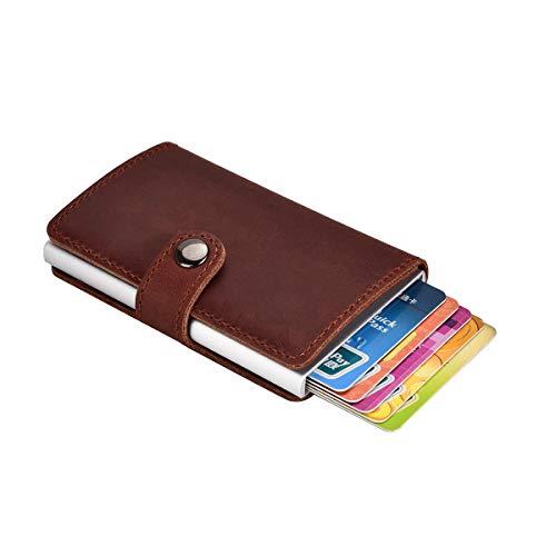 SECARIER Portefeuille Mince en Cuir Véritable, Etui RFID Blocage Porte-Carte de Crédit avec Pince à Billets pour Homme (avec Boucle)