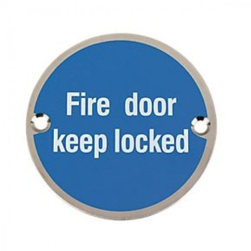 Fire Door Keep Locked Door Sign Symbol 75mm (3 Diameter) with Screws by Eclipse