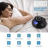 August SE20 - Mini Système Stéréo MP3 Bluetooth - Radio Portable avec Haut-Parleur Bluetooth Puissant - Radio Réveil FM avec Lecteur de carte SD, de clé USB et Port Auxiliaire (Micro USB) - Enceinte Stéréo 2 x 3W avec Batterie Rechargeable (Noir)