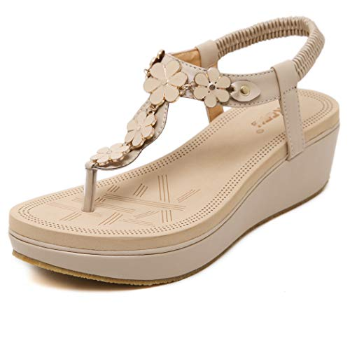 CRBHSH Women es Flower Platform Thong Wedge Sandals Buckle Elasticated Wedges Women ' s Shoes Toe Flip-Flops Beach Shoes,apricot,39 Buckle Thong Sandal