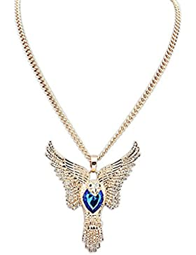 Epinki Damen Vergoldet Halskette, Damenkette Statementkette Choker Hawaiikette Adler Anhänger Anhänger Kette mit...