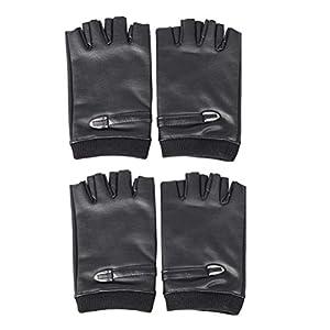 LIOOBO Fingerlose Handschuhe PU-Leder Schutzhandschuhe halbe Finger Fitness Sporthandschuhe Motorradhandschuhe für die Ausbildung Fischen Übungsgeschenk für Weihnachten 2 Paare