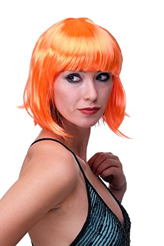 WIG ME UP ® - PW0114-PC24 Sexy Party Perücke Bob Disco Kurz & Frech Go-Go Party Burlesque Orange PW0114-PC24