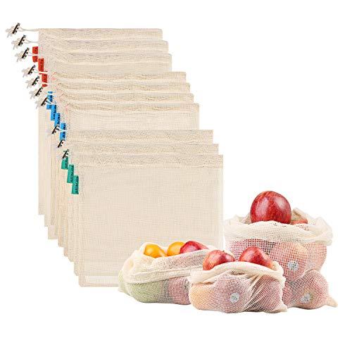NEWSTYLE Wiederverwendbare Obst- und Gemüsebeutel aus Baumwolle 10er Set,Organic Cotton Produce Taschen, Waschbar, Wiederverwendbar, Zero Waste Go Green Shopping (3*S, 4*M, 3*L)