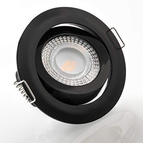 LED Einbaustrahler schwenkbar flach 4000K neutralweiß 230V dimmbar Deckenstrahler Einbauleuchte Einbauspot, Farbe:Schwarz, Einheit:6 Stück