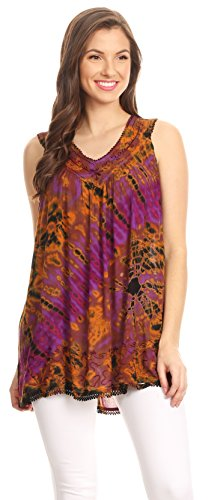 Sakkas Sana Tie Dye sans Manches Brodé à Encolure en V Débardeur Tunique Blouse/Cover Up Violet