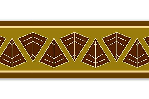 Selbstklebende Bordüre 'Afrikanisches Schild', 4-teilig 560x15cm, Tapetenbordüre, Wandbordüre, Borte, Wanddeko,Africa, braun
