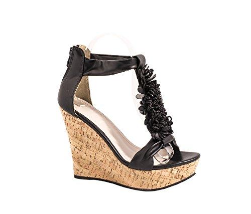 Sandalette 2 Elara Keilsandalette Korkwedges Schwarz Damen Bequeme Damen Elara Plateau fqwOO70P