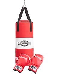 Ultrasport 331500000024 - Set de boxeo juvenil, serie Boxing Gear, con saco de boxeo de tela de 60 x 25 cm relleno y guantes de boxeo de 8 onzas
