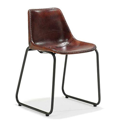 Pharao24 Stuhl Set in Braun Echtleder Schwarz Metall