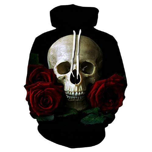 Schädel durch Hoodie-Männer-Sweatshirt-Hoodie-Trainingsanzug-Pullover-Schädel-Entwurf der Rosen-3D WE-265 L ()