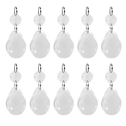 Asixx Colgantes de Cristal, Adornos de Cristales, de Cristal de K9, En Forma de Gota de Agua, Decoración Artesanal, para Lámpara, Cortinas de Cristal