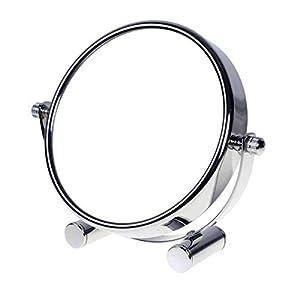 TUKA Designed Kosmetikspiegel 5 Fach, 5 inch Tischspiegel 360° drehbar, Standspiegel Schminkspiegel Badezimmerspiegel Verchromten. Doppelseitiger Rasierspiegel: Normal + 5X Vergrößerung, TKD3104-5x