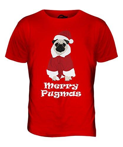 CandyMix Merry Pugmas Fröhliche Weihnachten Mops Herren T Shirt Rot