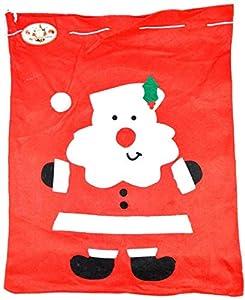 Shatchi SANTA-SACK-50X60-3521-50PK - Saco de Navidad (50 unidades), diseño de Papá Noel, color rojo