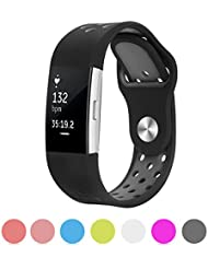 Kutop für Fitbit Charge 2 Armband weiches Silikon sports Ersetzerband Silikagel Fitness verstellbares Uhrenarmband für Fitbit Charge 2