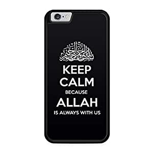 Keep calm is always with us allah islam iPhone 6 coque de protection en silicone noir à rabat