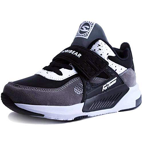 Sneakers Enfant Baskets Montantes Garcon Chaussure de Course Mode Garcon Fille Sport Running Shoes Competition Entrainement Gris 36