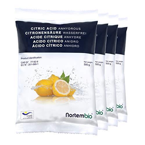NortemBio Zitronensäure 2 Kg (4x500g). Wasserfreies Citronensäure Pulver, 100{814577098adf158f1efa83d12fbe4ba5bfa1ecc761d3cac974d1a29f8072a776} Reine. Für Ökologischen Produktion. Entwickelt in Deutschland.