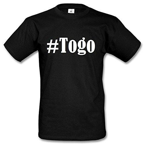 T-Shirt #Togo Hashtag Raute für Damen Herren und Kinder ... in den Farben Schwarz und Weiss Schwarz