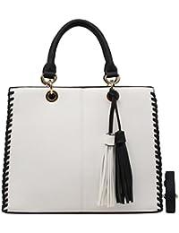 e89b11d856317 CRAZYCHIC - Damen Handtasche mit Bicolor Pompon und Zöpfe Seiten - Leder  imitat Frau Tasche - Henkeltasche - Schultertasche - Stilvoll Tote…