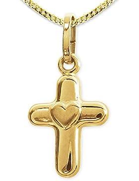 CLEVER SCHMUCK Goldener Anhänger Mini- Kreuz ca. 9 x 11 mm Kreuz abgerundet mit mattem Herz mittig